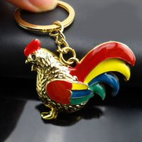Wholesale Jewelry For Cock - Enamel Silver Gold Plated Chicken Rooster Cock Key Chain Key Ring For Women Girls Bag Pendant Keychains Jewelry