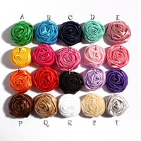 Wholesale 3d Rose Flower Fabric - 5cm 20colors Handmade Soft Satin ribbon 3D Rose Flowers DIY Hair pin Hairbands Kids Headbands Hair Shoes Fabric Flowers Accessories Findings