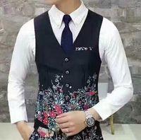 Wholesale Mens Wedding Suit Flowers - 2017 Unique Mens Floral Blazer Custom Made Mens Suit Vest Groom Vest Prom Wedding Waistcoat Printed Mens Dress Vests Slim Fit Plus Size