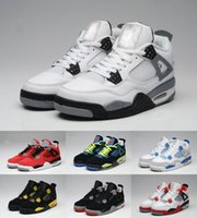 Wholesale Retro White Cement - Top Quality Retro 4 Men Basketball Shoes 4s White Cement Toro Bravo 4s Superman Bred Thunder Sports Shoes With Box