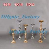 Wholesale Metal Flower Stands Wholesale - Cheap Sales !!Wedding Candle Holder 30 40 50cm silver gold Romantic Standing Wedding Candlestick Wedding Flower Stands Silver Candelabra