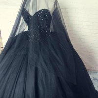Gothic Black Prom Masquerade ball Gowns completamente in rilievo Sweetheart Puffy Tulle Vintage Quinceanera Abiti per Halloween 2017 Real Photo