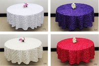 Wholesale White Polyester Tablecloths Round - White 2.6 m Wedding Round Table Cloth Overlays 3D Rose Petal Tablecloths Wedding Decoration Supplier 7 Colors Free Shipping