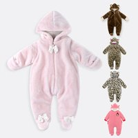 Wholesale Baby Boy Down Snowsuit - Manufacturer Newborn Baby Clothing Coral Fleece Winter Girls Boys Rompers Cartoon Infant Clothes Bear Down Snowsuit Hooded Babies Jumpsuits