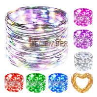 8-Modes LED Copper Wire Light String 10M 20M 30M 40M 50M LED Strings Indoor Outdoor Decoração Iluminação DIY LED Flash String Lights