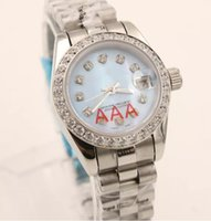 Wholesale Womens Watch Clasp - New AAA Superlative luxury Automatic lady's Diamonds Blue Dial Stainless Folding Clasp womens sapphire Mechanical just watch 26MM