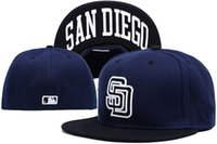 Unisex padres baseball hats - MLB San Diego Padres Fitted Caps Embroidered Team Logo Baseball Cap Casual Style sport Hats for man woman