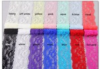 """Wholesale Elastic Stretch Lace Trim - 5.5cm 14 COLORS lace elastic headbands by yard, baby girl headbands stretch lace trim hairband ,2"""" girl lace headband by the yard XHY001"""