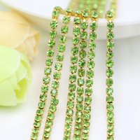 Wholesale Shabby Rhinestone - Unplated Raw Brass Glass Crystal Peridot Rhinestone Cup Chain Vintage Shabby Style, Central Coast Charms, SS6.5-SS12, 3.5-5Meters pack