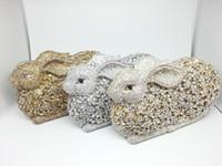 caja de diamantes de imitación embrague al por mayor-Al por mayor-Caja de regalo Partido Diamante Conejo bolso de las mujeres ahueca hacia fuera el bolso de noche de cristal de oro Rhinestone de las señoras garras de la boda nupcial bolsas
