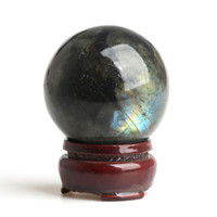 Wholesale Natural Crystal Ball Stands - 1.65-1.89 inches Wholesale natural Crystal Labradorite Spheres healing rainbow gemstone balls + stand FREE SHIPPING