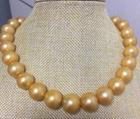 Wholesale huge round pearls - Fine Pearls Jewelry huge 13-15mm south sea round gold pearl necklace 18inch 14k