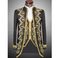 Wholesale White Groomsmen Embroidery Suits - Wholesale- Vogue  style Gold embroidery men Tuxedos Classic Groomsmen Men Wedding Suit(Jacket+Pants+vest) white black actual pictures