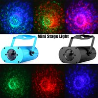 Wholesale Sound Activated Lamp - Wholesale- LXG133 9W AC 100 - 240V Sound Activated RGB LED Water Ripples Light Home Party Mini Stage Laser Lamp with Remote Control