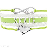 Wholesale Wrap Bracelet Blue White - Infinity Love Skate Flip Figure Skating Axel Charm Bracelets For Women Black Light Blue White Suede Leather Wrap Jewelry