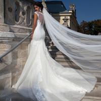 ein langer hochzeitsschleier großhandel-Elegante Brautschleier mit Schnittkante Kathedrale Länge / 3m / 5m / 10m Superlang einreihiger Tüll Weiß / Elfenbein Hotselling Hochzeitsschleier # F119