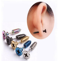 Wholesale Gothic Punk Ear Cuffs - Punk Style Stainless Steel 5 Colors Stud Earrings Men's Punk Ear Jewelry Rock Gothic Unisex Piercing Earring Free shipping