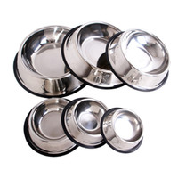 Wholesale ceramic slip - 2017 the newest Pet dog tableware stainless steel Non-Slip large capacity bowl convenience Pet Supplies slver