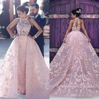 Wholesale little baby jacket resale online - 2019 Baby Pink Gorgeous Sheath Prom Dresses With Overskirts Lace High Neck Sheer D Appliques Lace Evening Dress Formal Celebrity Party Gown