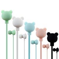 niedliche bunte kopfhörer großhandel-Niedlichen Bären Kopfhörer bunten Cartoon Studio In-Ear-Freisprecheinrichtung mit Mikrofon-Taste Fernbedienung 3,5 mm Headsets für iPhone Samsung Huawei Xiaomi