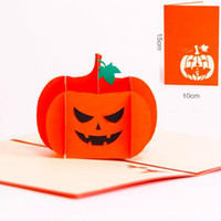 Wholesale Pop Lamp - Vintage Halloween Day All Saints' Day 3D Pop Up Gift Cards Origami Kirigami Greeting Cards Postcards Paper Pumpkin Lamp