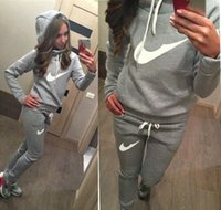 Wholesale Two Piece Knit Suit - Hot Sale! New Women active set tracksuits Hoodies Sweatshirt +Pant Running Sport Track suits 2 Pieces jogging sets survetement femme clothes