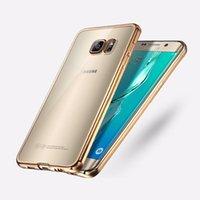 samsung s6 açık mobil kutu toptan satış-Lüks Ultra İnce Şeffaf Kristal Kauçuk Kaplama Galvanik TPU Yumuşak Cep Telefonu Kılıfı Için Samsung S8 S7 S7 Kenar S6 S6 Kenar