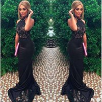 Wholesale Closed Neck Evening Gown - 2017 New Sexy High Neck Sleeveless Mermaid Close-Fitting Prom Dresses Black Lace Formal Women Evening Gowns Satin Robe De Soiree