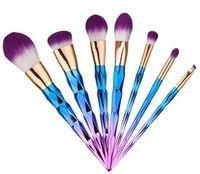 pinceles de maquillaje vander al por mayor-Nuevo kit de cepillo Professional Vander 7pcs profesional de la crema Power Makeup Brushes Multipurpose Beauty Cosmetic Puff Batch Kabuki Blusher DHL