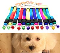 Wholesale Wholesale Rainbow Dog Collars - Pets Collars with Bell Cats Necklace Dogs Leash Traction Strap Anti Lost Rainbow Dog Collars Cats Necklaces Durable