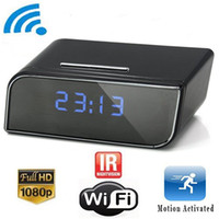 Wholesale Indoor Wireless Remote Control - 1080P P2P Wifi Pinhole Hidden Alarm Clock Camera Mini Spy Clock Camera Nanny Cam P2P Remote Control by APP Real-time Viewing