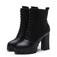 ostrich leather pumps - Women Boots Square Heel Platforms Zapatos Mujer PU Leather Thigh High Pump Boots Motorcycle Shoes Botas Mujer