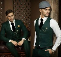 Wholesale Groomsmen Green Vest Black Suit - Fashionable One Button Green Groom Tuxedos Notch Lapel Groomsmen Best Man Mens Weddings Prom Suits (Jacket+Pants+Vest+Tie) NO:3367