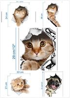 ingrosso animali post-Autoadesivo della parete 3D Gatti Cani Stampato Sticker per cucina Bagno Frigorifero Decalcomanie animali Bagno Soggiorno Decorazione della casa