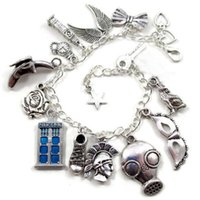 Wholesale Silver Tone Jewelry Box - 12pcs Doctor Who Charm Bracelet silver tone tardis police box jewelry