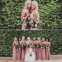 Wholesale event gowns - 2018 Custom Made Country Cheap Peach Bridesmaid Dresses Sweetheart Sleeveless Long Party Gowns Bridesmaids Dress for Wedding Event