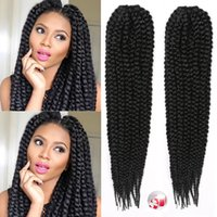 Wholesale kanekalon hair weave - Kanekalon Synthetic Braiding Hair Extensions Bulks Afro Havana Mambo Crochet Box Braids Hair Extension Jumbo Braids Black Braiding Hair