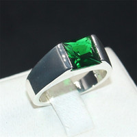 Eternité masculine 925 Silver Square Emerald Diamond Simulated Zircon Stone Solitaire Cocktail Rings Engagement Anniversary Band Bijoux garçons