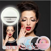 Wholesale Rechargeable Night Selfie Luminous Ring Phone Mount Photography Flash Light Up For Iphone Samrtphones Ipad Tablet Color boxes packing