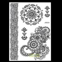Venta al por mayor-1PC moda Flash no tóxico Tattoo Henna mujeres Negro flor joya correa de encaje Stlye BJ002A Arte Corporal Temporal Tattoo Sheet Sticker