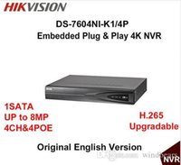 Wholesale Dhl 4ch Dvr - Hikvision English Version DS-7604NI-K1 4P Embedded Plug & Play 4K NVR Support H.265 Up to 8MP 4POE 4CH Network DHL Free Shipping