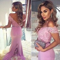Wholesale Light Purple Lace - 2017 Light Purple Off Shoulder Bridesmaid Dresses For Wedding Lace Mermaid Formal Party Gowns With Buttons Maid Of Honor Dresses 2016