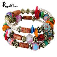 Wholesale Vintage Bracelet Green Stones - RAVIMOUR Bohemian Women Bracelet Crystal Stone Multilayer Ethnic Boho Bracelets & Bangles Fashion Jewelry Vintage Accessories