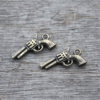 antike gewehrcharme großhandel-25pcs - Gun Charms, antike Bronze 3D Pistolen Pistolen Guns Charms Anhänger 21x11mm