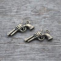 Wholesale Guns Wholesale Pistol - 25pcs--Gun Charms,Antique Bronze 3D handguns Pistols Guns Charms Pendants 21x11mm
