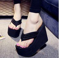 Wholesale Hot Pink Platform Sandals - Hot Sale Soild Wedge Platform Flip Flops Woman Shoes 2017Women Summer Shoes High Heels Beach Sandals Ladies Thick High Pantufas