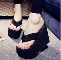 sandales chaudes achat en gros de-Vente chaude Soild Wedge Plate-forme Flip Flops Femme Chaussures 2017 Femmes D'été Chaussures Talons hauts Plage Sandales Dames Épais Haute Pantufas
