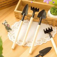 Wholesale Garden Wood Tools - 3Pcs Mini Garden Hand Tool Kit Plant Gardening Shovel Spade Rake Trowel Wood Handle Metal Head Gardener Free Shipping