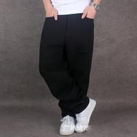 pantalones holgados de algodón para hombres al por mayor-Al por mayor-Mens Pure Black Hiphop Baggy Denim Jeans de algodón Hombres sueltan ajuste para Street Dancing pantalones anchos de la pierna más el tamaño 42 44 46