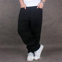 мешковатые штаны из хлопка для мужчин оптовых-Wholesale-Mens Pure Black Hiphop Baggy Cotton Denim Jeans Men Loose Fit For Street Dancing Wide Leg Pants Plus Size 42 44 46